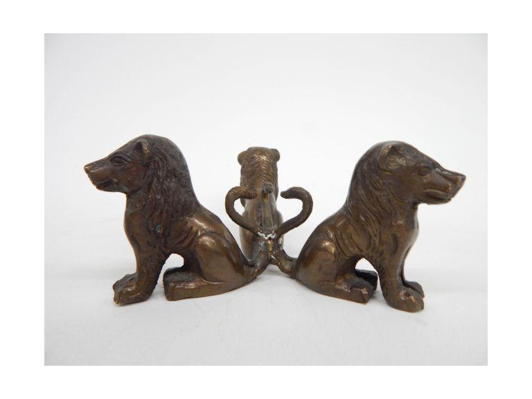 Cast Brass Lion Bowl Stand
