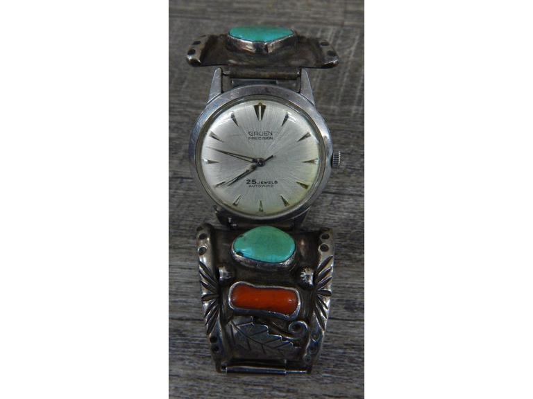 Gruen 25j Automatic Watch W/ Sterling Band