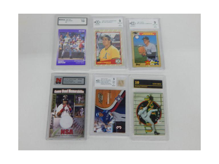 Graded Baseball Cards with Game Used Cards