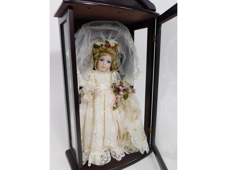 Beautiful Porcelain Doll in Wood Display