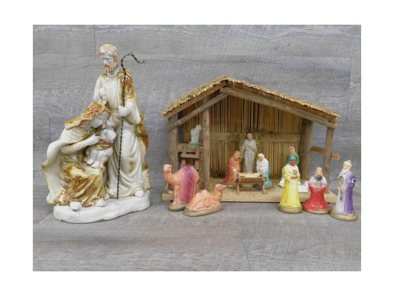 Vintage Nativity Set and Holy Family Sculpture