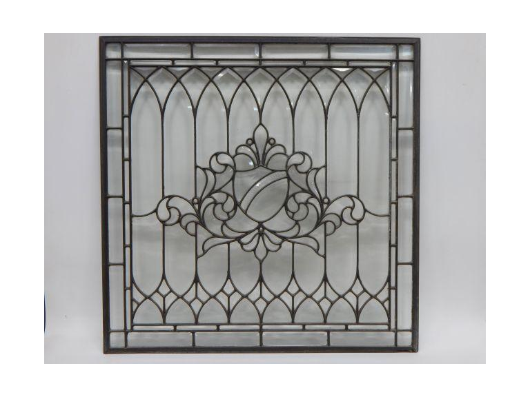 Large metal framed Beveled Glass Window