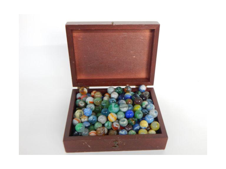 Wooden Box of Glass Marbles