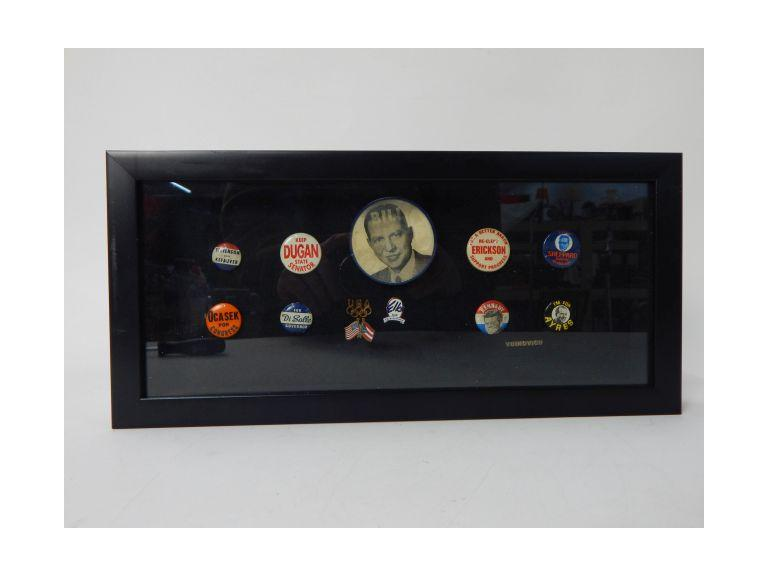 Shadow Box with old Political Pins