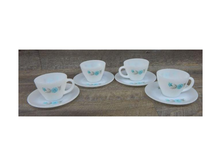 Fire King Aqua Blue Pattern Cup & Saucer Sets