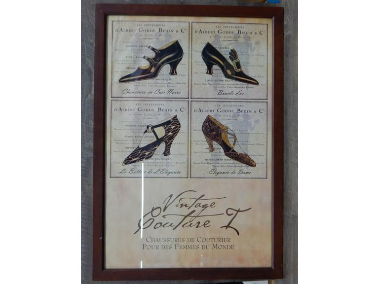 Large Framed Paris Shoe Ad Poster