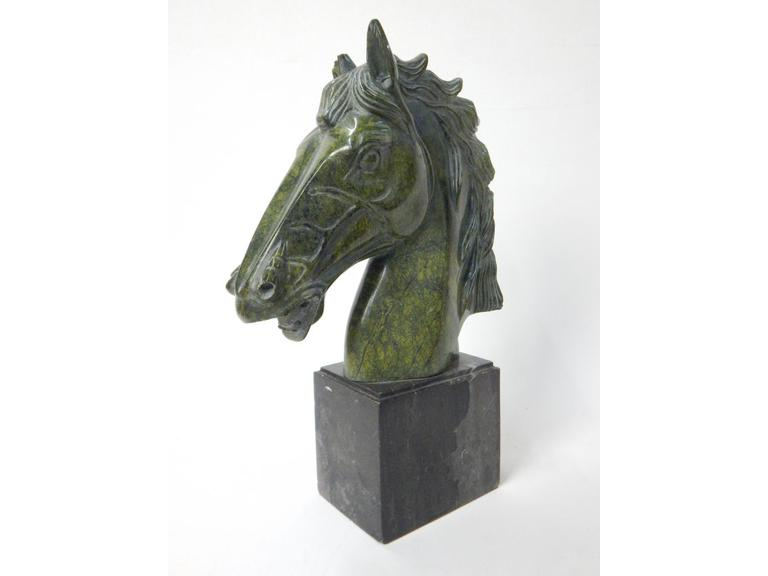 Tall Marble Horse Head  Statue