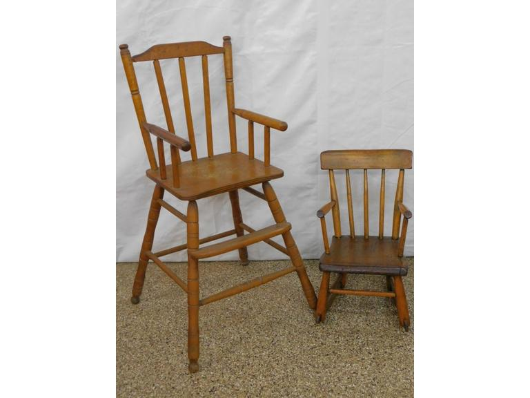 Child's Wood Rocker and High Chair