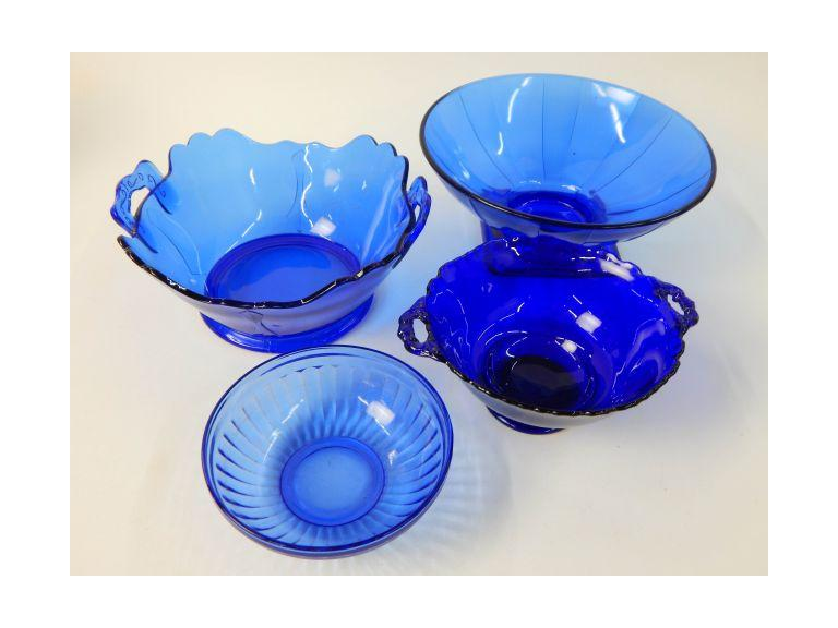 Collection of Blue Glass Bowls
