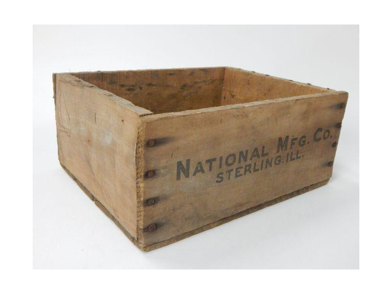 National Mfg. Co. Small Wooden Crate