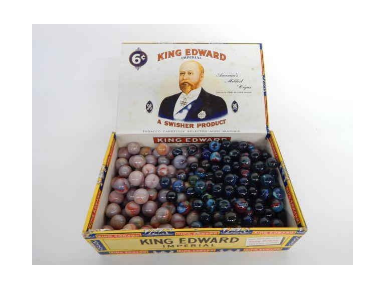 Cigar Box Full of Glass Marbles
