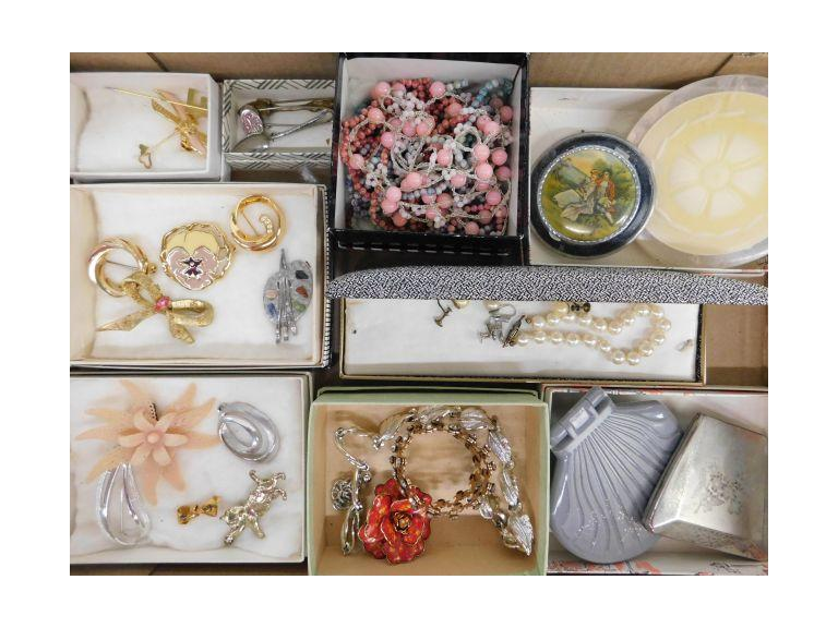 Interesting Vintage Jewelry and Old Compact Lot