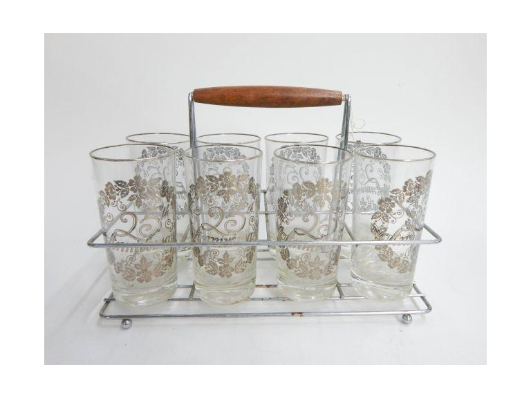 Vintage Glass Set with Carrier