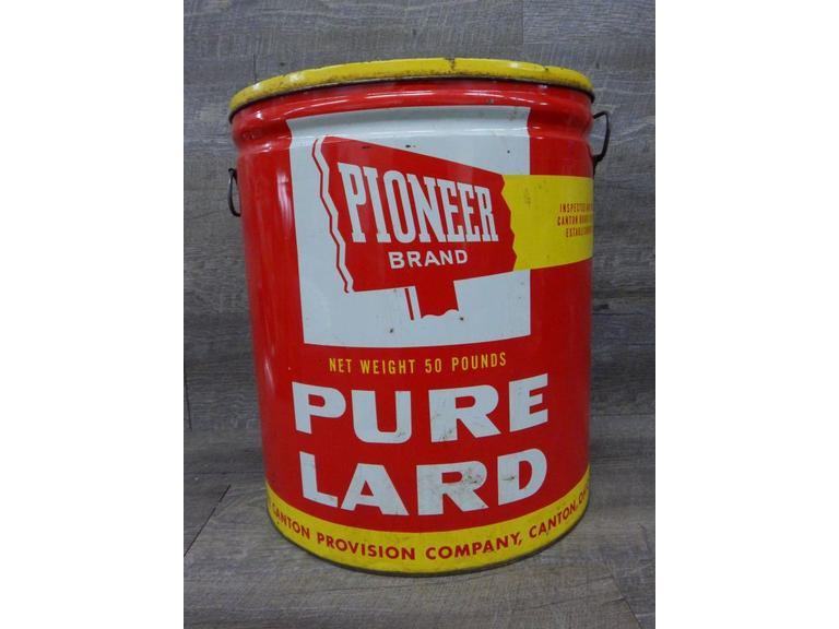 Large Metal Lard Can with Lid