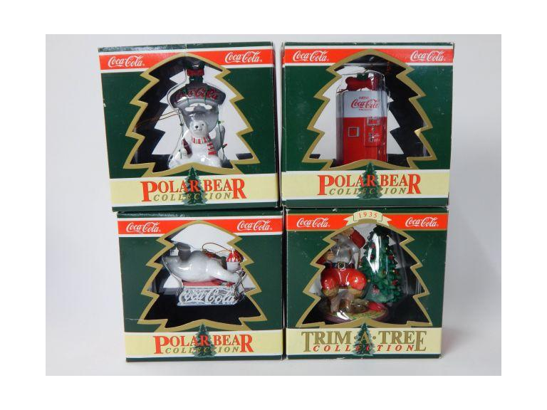Collection of Coca Cola Christmas Ornaments