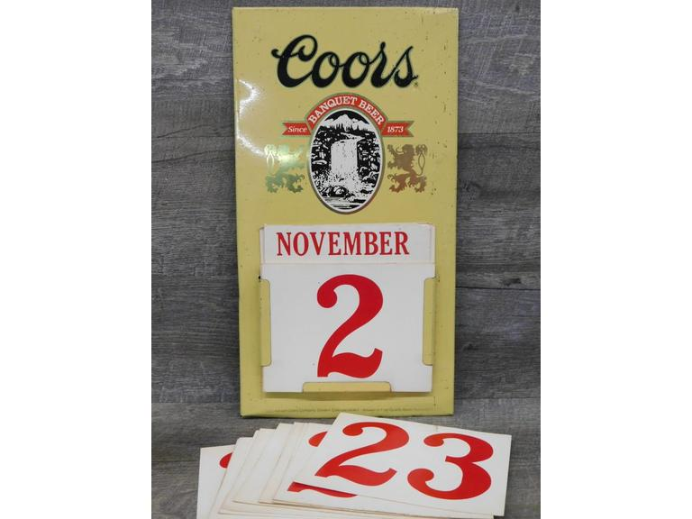 1985 Coors Advertising Calendar and Sign