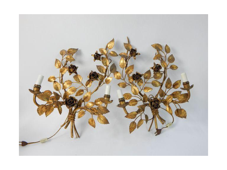 Mid-Century Metal Art Floral Lights