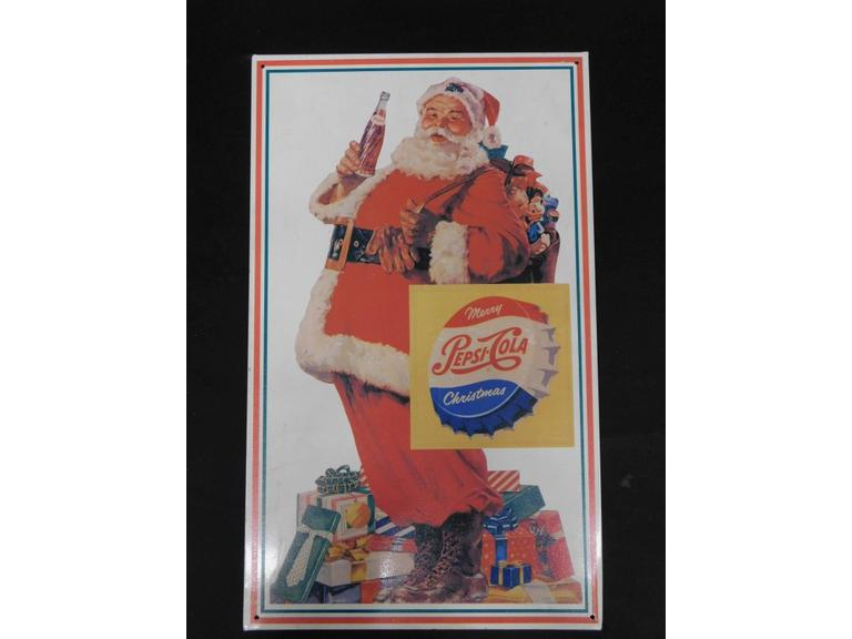 Santa Drinking Pepsi Cola Tin Sign