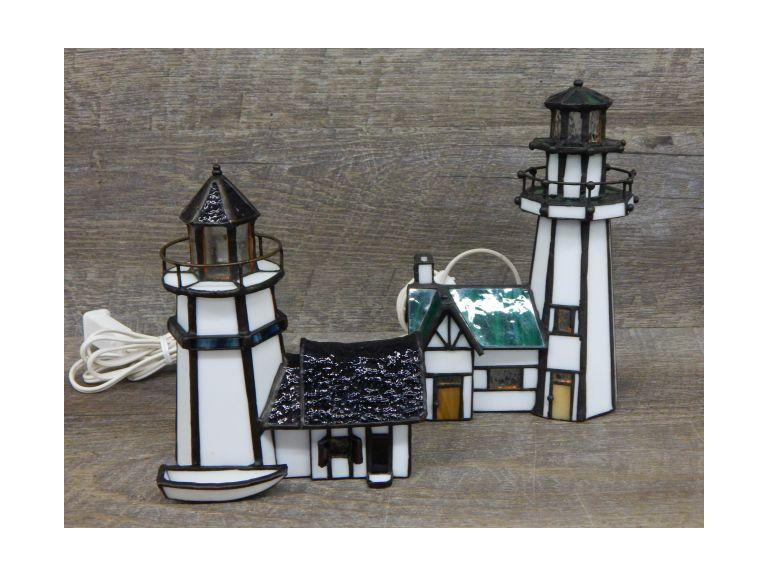 Pair of Stained Glass Lighthouse Lamps