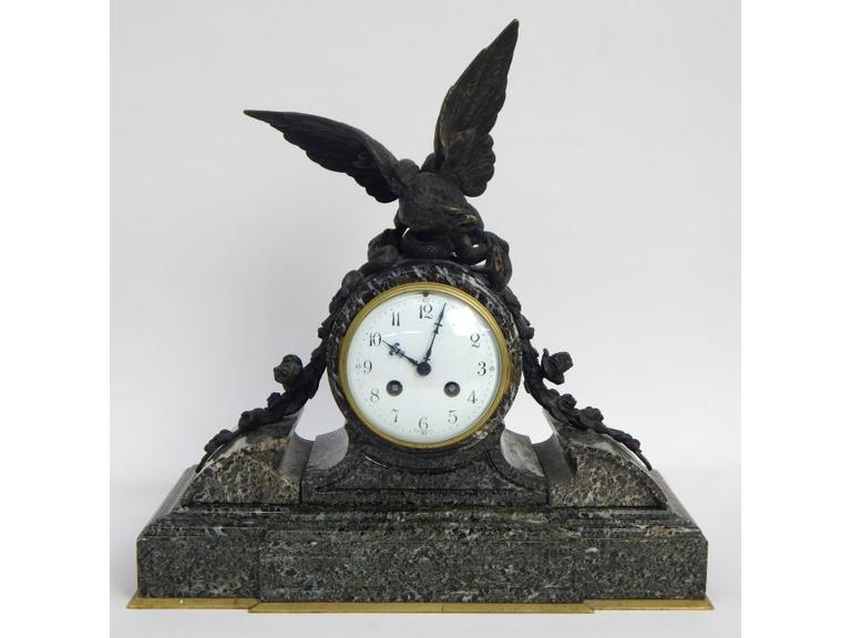 Antique French Marble & Bronze Eagle Mantle Clock