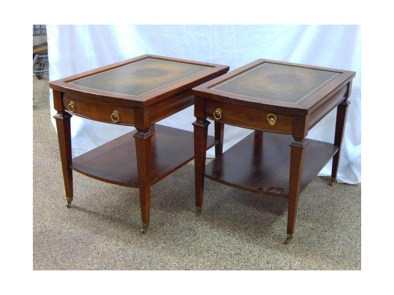 Mersman Leather Top Side Tables