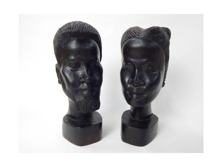 Hand Carved Signed Hard Wood African Busts