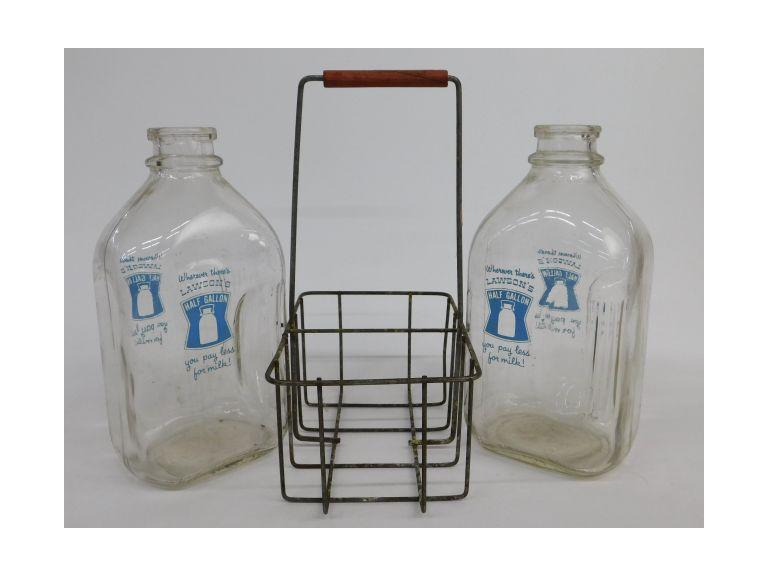 Lawson's Milk Bottles With Caddy