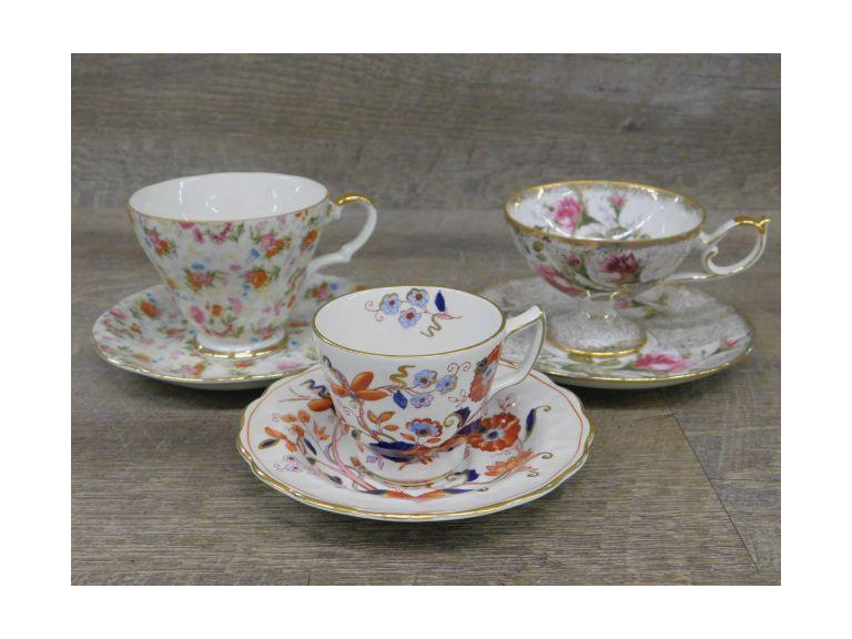 Lot of Three Bone China Teacup and Saucer Sets