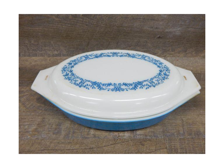 Pyrex Blue Glass Casserole Dish