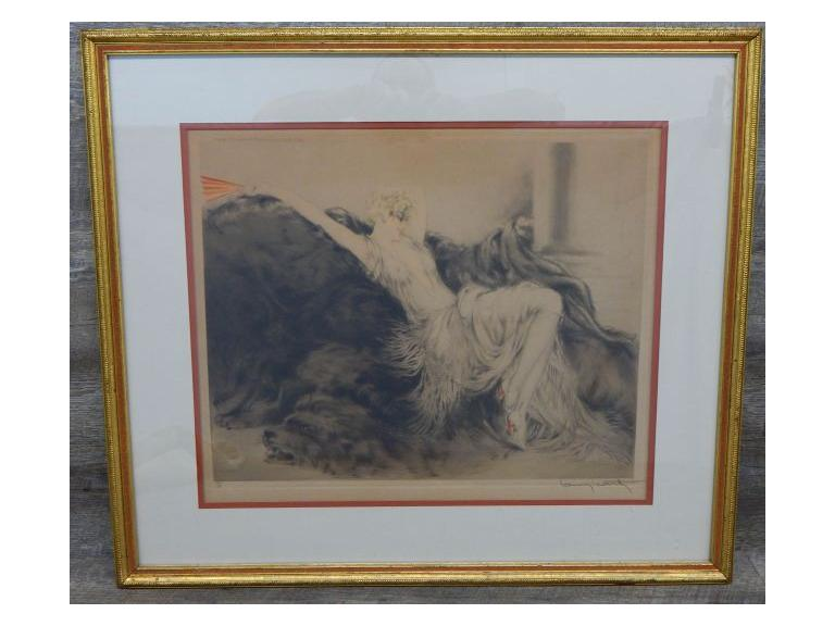 "Louis Icart Signed 1925 ""Paresse"" Etching"