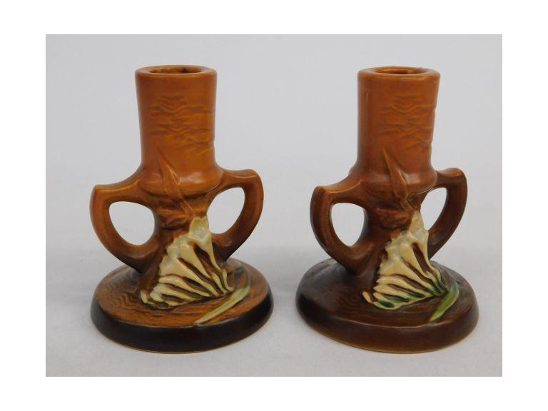 Roseville Pottery Freesia Candlestick Holders