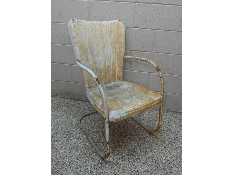 Old Pressed Steel Patio Chair