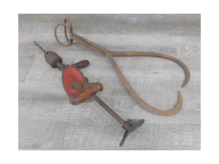 Old Ice Tongs and Hand Crank Drill