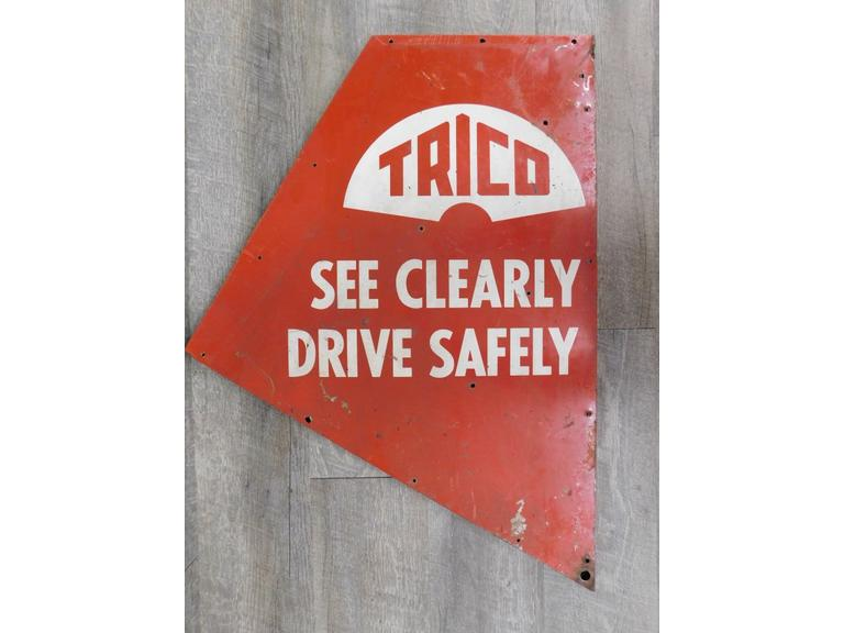 TRICO See Clearly Drive Safely, Vintage Metal Sign