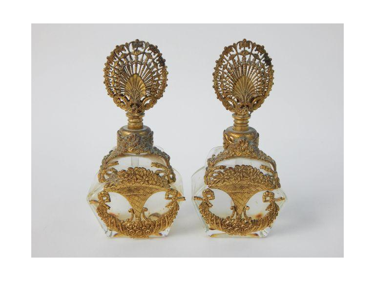 Ornate Brass Trimmed Perfume Bottles