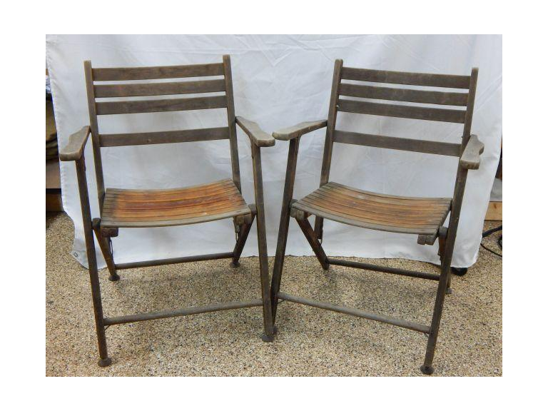 Pair of Old Slatted Wood Folding Chairs