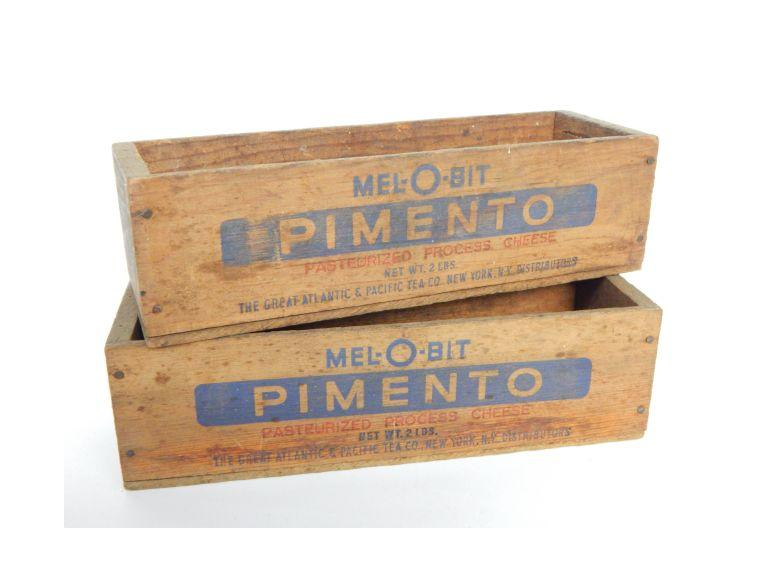 Pair Wooden Cheese Boxes