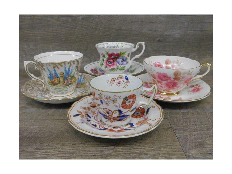 Lot of Four Bone China Teacup and Saucer Sets