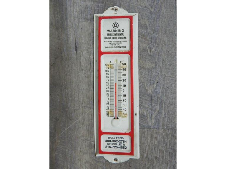 Old Pressed Metal Wall Thermometer
