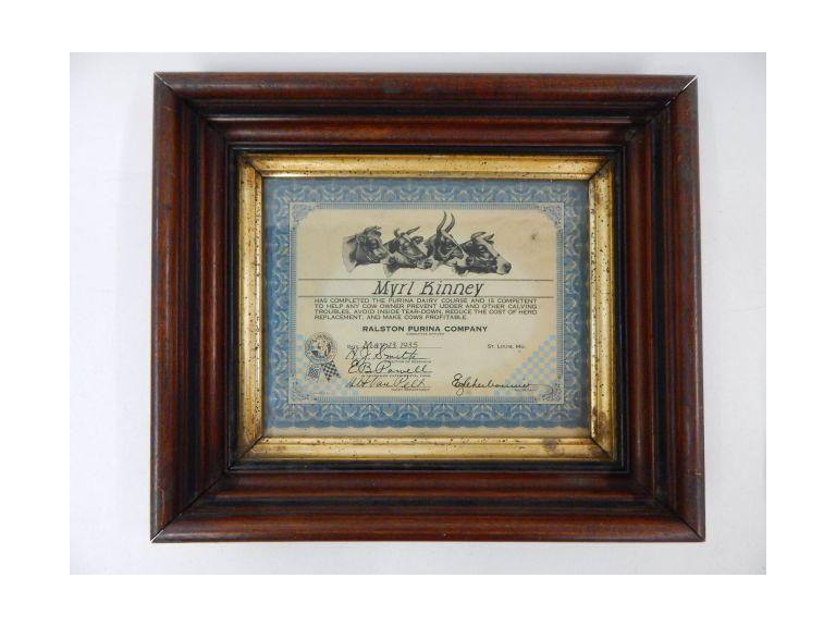 Framed Purina Diploma