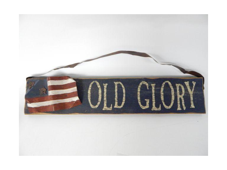 Old Glory Wooden Sign