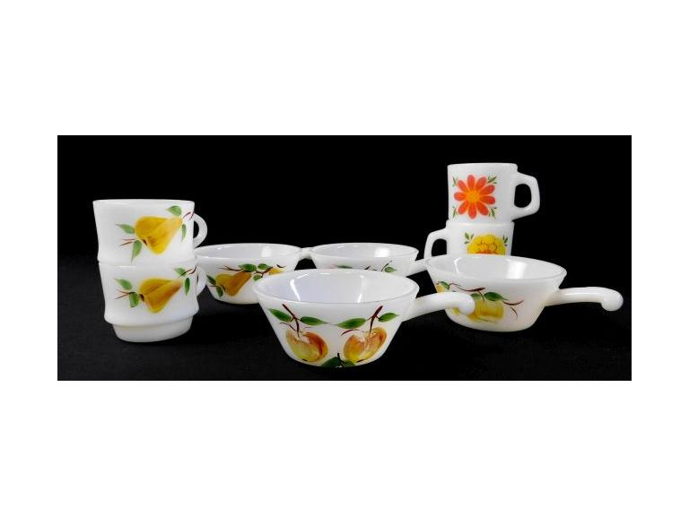 Milk Glass Cups and Soup Bowls