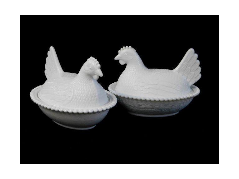 Milk Glass Nesting Hens