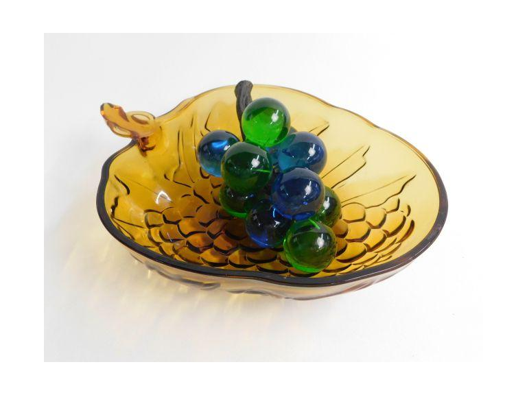 Glass Grapes in Bowl