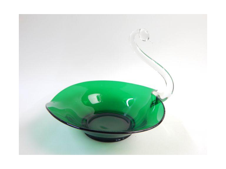 Art Glass Swan Bowl