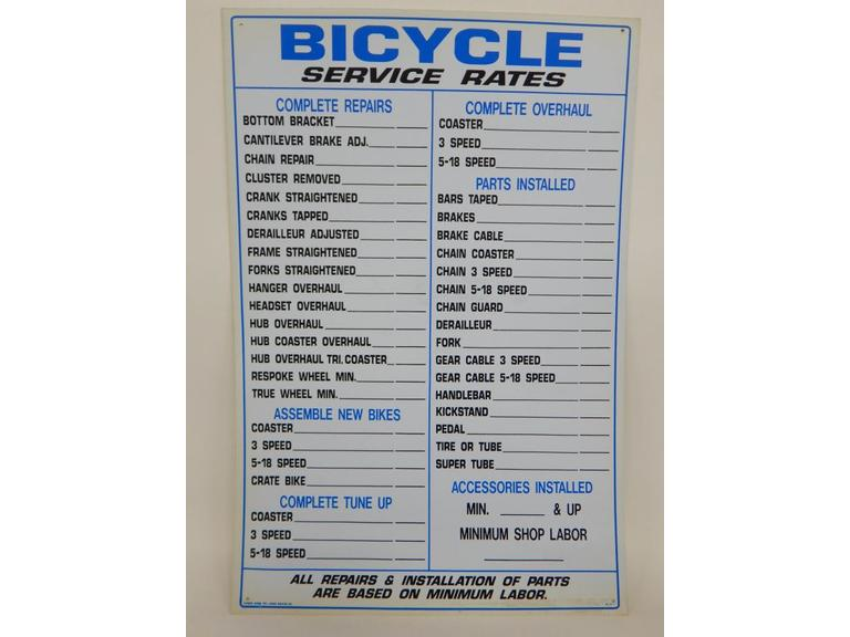 Bicycle Service Sign