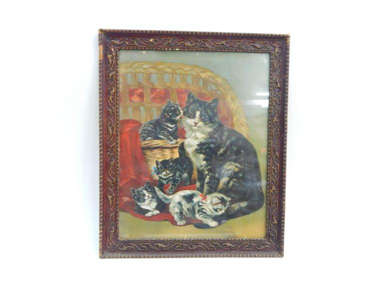 Lithograph Cat Print