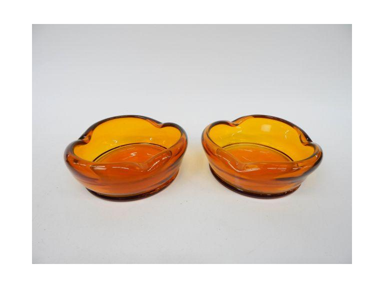 Amber Glass Ashtrays