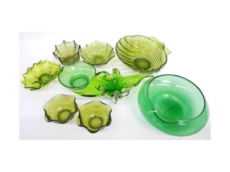 Green Art Glass Bowls