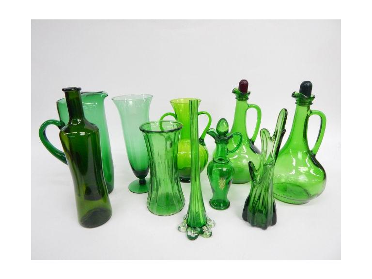Green Bottles& Vases